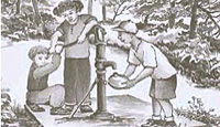Drawing of kids using a hand pump to get ground water.