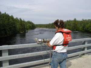 Hydrologic Technician taking a water sample
